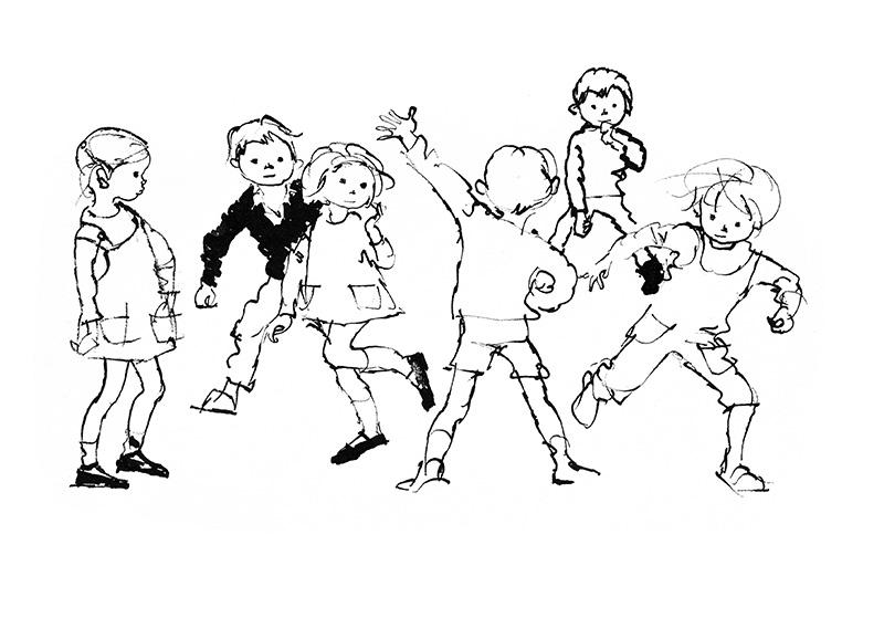 元気にかけ廻る子ども群像 中央に高く左手をあげる男の子
